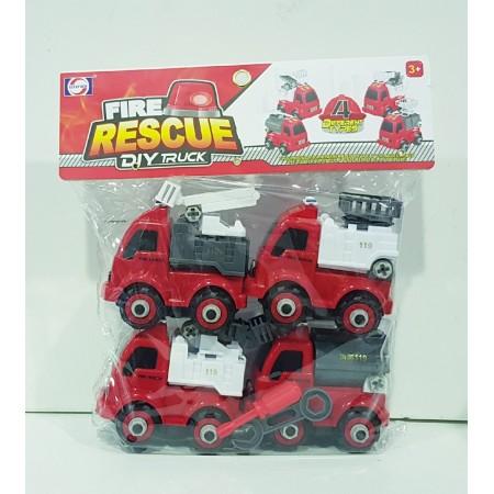 Набор Пожарных Машин с Отверткой и Ключом 9920N