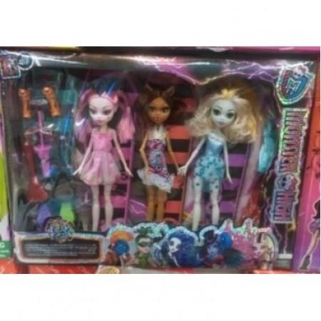 Набор из 3 кукол Монстр Хай с аксессуарами шарнир